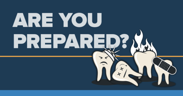 Illustrations of Injured teeth prompting the question, are you prepared to handle dental emergencies?